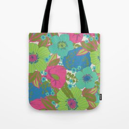 Green, Turquoise, Blue and Magenta Retro Floral Pattern Tote Bag