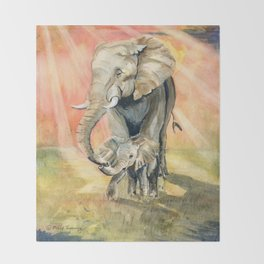 Mom and Baby Elephant Throw Blanket