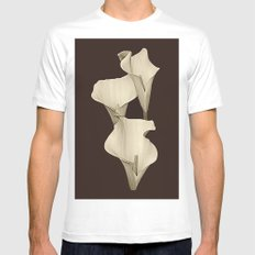 Cream Calla Lilly. MEDIUM White Mens Fitted Tee