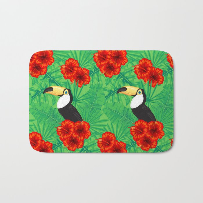 Tropical pattern with toucan and  tropical leaves Bath Mat