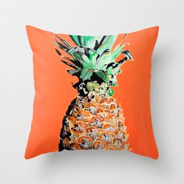 Pineapple pop art painting Throw Pillow