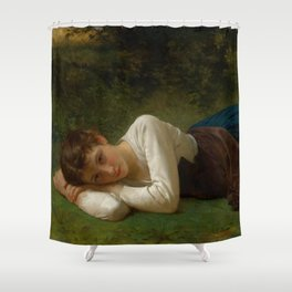 """William-Adolphe Bouguereau """"Le Repos (Jeune Fille Couchée)(Young Girl Lying Down)"""" Shower Curtain"""