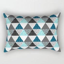 Triangle Quilt in Blue Rectangular Pillow