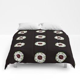 Zombie Eyeball Repeat in Midnight Black Comforters