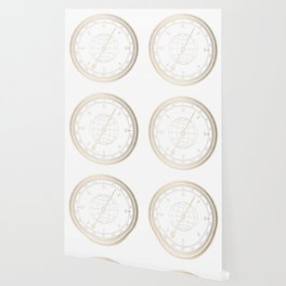 Gold Compass on White Wallpaper