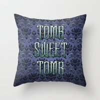 haunted mansion Throw Pillows featuring Haunted Mansion - Tomb Sweet Tomb by Brianna