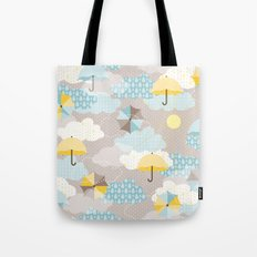 Umbrellas in the clouds Tote Bag
