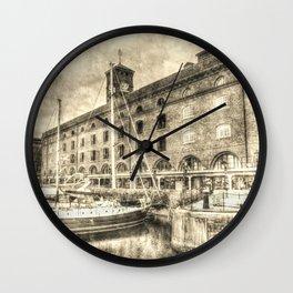 St Katherine's Dock London Vintage Art Wall Clock