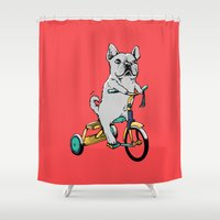 frenchie Shower Curtains featuring Frenchie Ride by Huebucket