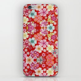 Crimson Floral Chirimen iPhone Skin