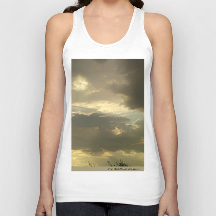 Grey tan stormy clouds in the middle of nowhere Unisex Tank Top