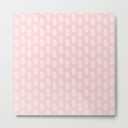 Pastel pink background with white spring leaves pattern Metal Print