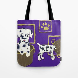 Purple puppy antics | Puppies at play Tote Bag