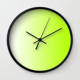 White and Lime Green Gradient 028 Wall Clock