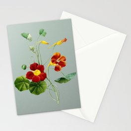 Vintage Monks Cress Botanical Illustration on Mint Green Stationery Cards