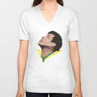 neymar V-neck T-shirts featuring Neymar Junior Brazil by CurrentFootball