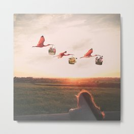 Dreaming of Floral Bird Deliveries Metal Print