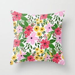 Cute Pink Red Spring Floral Hand Paint Design Throw Pillow