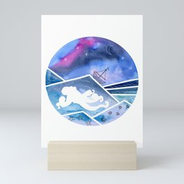 Abstract Seascape with Sailboat and Octopus Mini Art Print