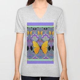Pastel Lilac yellow butterflies Art Nouveau Design Unisex V-Neck