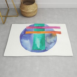 180818 Geometrical Watercolour 7| Colorful Abstract | Modern Watercolor Art Rug