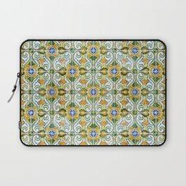 Seamless Floral Pattern Ornamental Tile Design : 9 yellow, green Laptop Sleeve