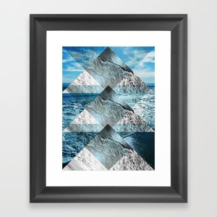 Geometric Sea Collage Framed Art Print