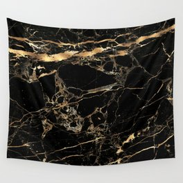 Marble, Black + Gold Veins Wall Tapestry