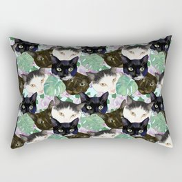 Cat Faces, Magnolia Flowers and Monstera Leaves Rectangular Pillow