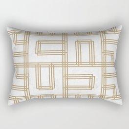 Golden Deco Lines Pattern Rectangular Pillow