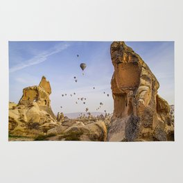 Sunrise scenery with air balloons Rug