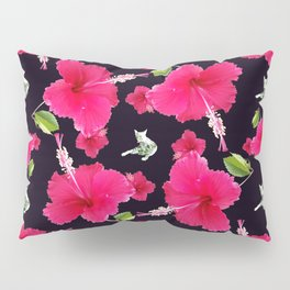 Tiffany the Cat and Hibiscus - Black Pillow Sham