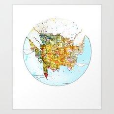 Upside-down Town. Art Print