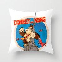 donkey kong Throw Pillows featuring Donkey King Kong by Vickn