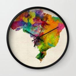 Brazil Watercolor Map Wall Clock