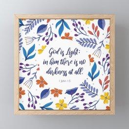 God is Light, 1 John 1:5, Scripture Quote Framed Mini Art Print