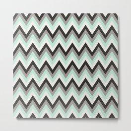 Chevron gray and blue Metal Print