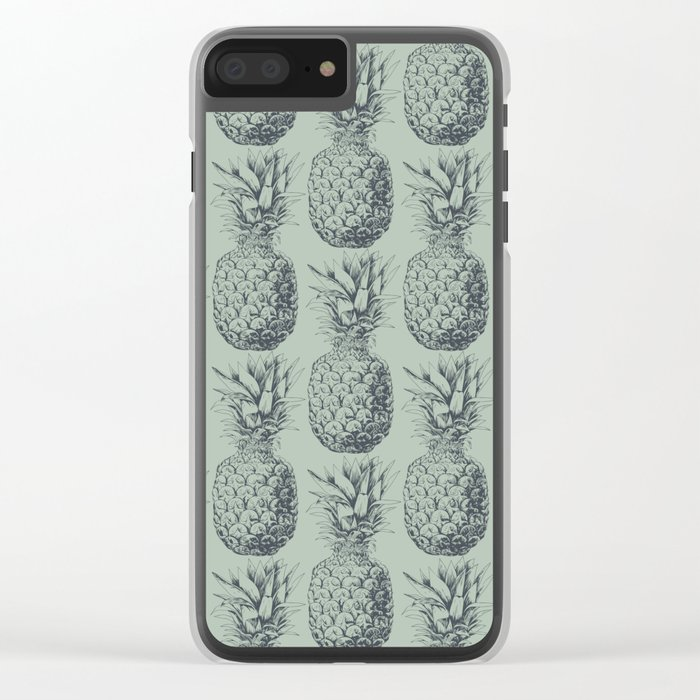 Pineapple, tropical fruit pattern design Clear iPhone Case