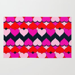 Multi Hearts Red Pink Navy Rug