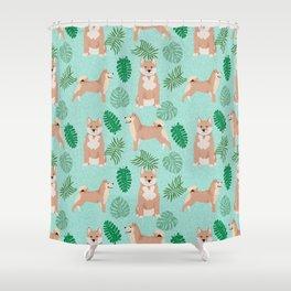 Shiba Inu summer monstera tropical pure breed dog gifts Shower Curtain