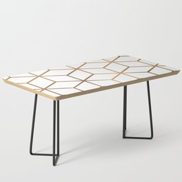 White and Gold - Geometric Cube Design Coffee Table