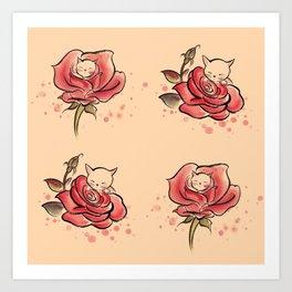 Cat Rose Art Print