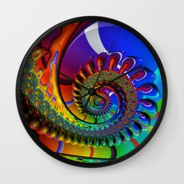 SPIRAL, RAINBOW, fractals by Alice Kelly, prints, gifts and decor  Wall Clock