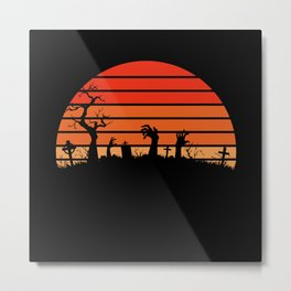 Graves cemetery spooky circle sunset vintage Metal Print
