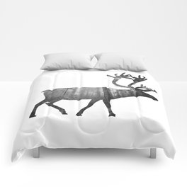 Moose Silhouette | Forest Photography Comforters
