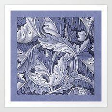 Acanthus Nouveau Style in Blue Art Print