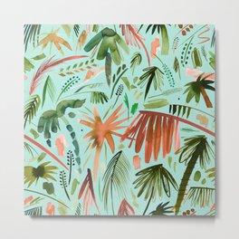 Brushstroke palms Green orange Metal Print