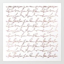Modern faux rose gold trendy typography Art Print