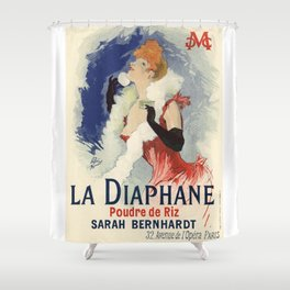 Belle Epoque vintage poster, Sarah Bernhardt, La Diaphane Shower Curtain