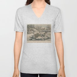 Vintage Wolf Pack Hunting a Moose Illustration Unisex V-Neck